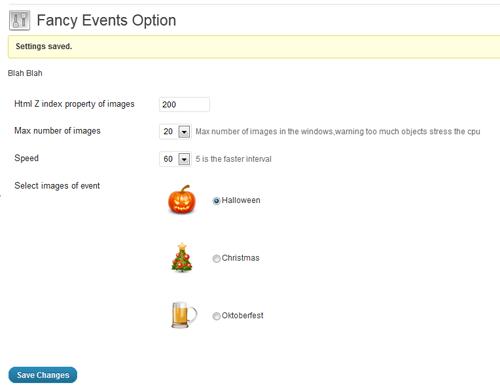 fancy events configurazione